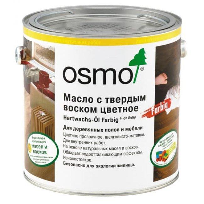 Масло для паркета osmo с твердым воском цветное 3074 графит